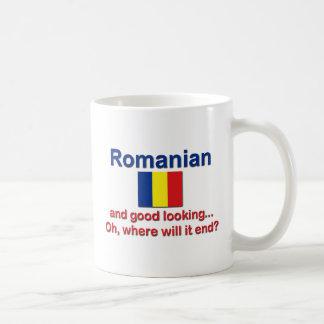 Rumano apuesto taza básica blanca