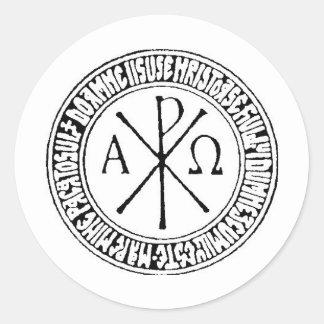 Rumano Christogram con el rezo de Jesús Pegatina Redonda