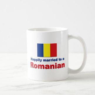 Rumano feliz casado taza básica blanca