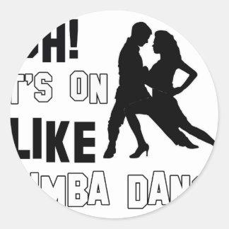 Rumba dance design classic round sticker