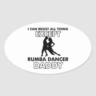Rumba dance design oval sticker