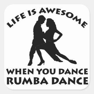 Rumba dance design square sticker