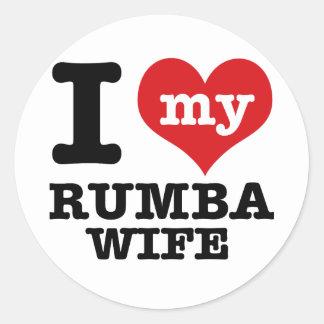 rumba wife classic round sticker
