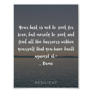 """""""Rumi Barriers Against Love"""" Cursive Quote Poster"""