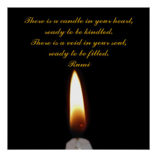 Rumi Candle in the heart Poster