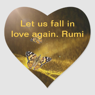 Rumi Fall in love again Heart Sticker