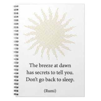 Rumi Morning Poetry Notebook