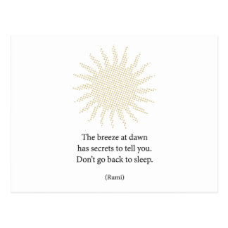 Rumi Morning Poetry Postcard