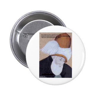 "Rumi ""Obstacles Of Love"" Quote On Gifts Tees Cards 2 Inch Round Button"