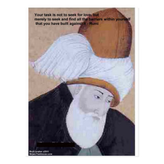 """Rumi """"Obstacles Of Love"""" Quote On Gifts Tees Cards Post Card"""