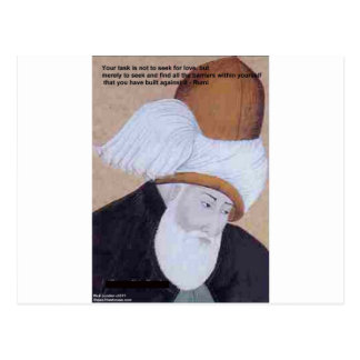 """Rumi """"Obstacles Of Love"""" Quote On Gifts Tees Cards Post Cards"""