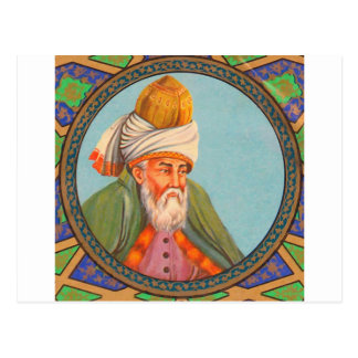 rumi portrait oil painting postcard