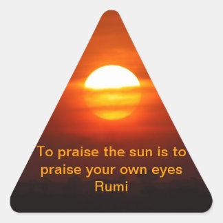 Rumi Praise the sun Triangle Sticker