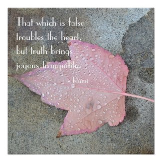 Rumi Quote Pink Leaf Poster