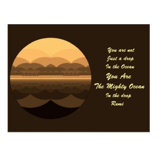 Rumi Quote Postcard. Ocean Mandala Design