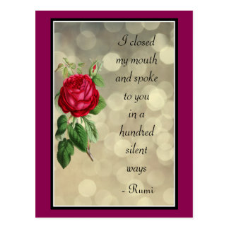 Rumi Quote Typography with Rose and Bokeh Design Postcard