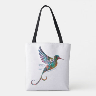 Rumi Quote with Hummingbird Tote Bag