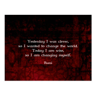 Rumi Wisdom Quote About Change & Cleverness Postcard