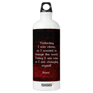 Rumi Wisdom Quote About Change & Cleverness Water Bottle