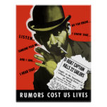 Rumors Cost Us Lives -- WW2 Poster