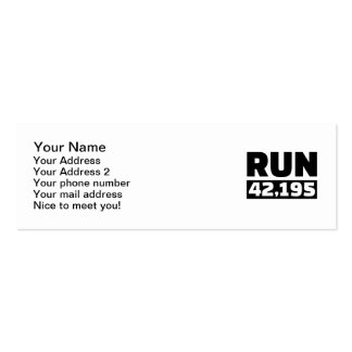 Run 42 kilometers marathon Double-Sided mini business cards (Pack of 20)