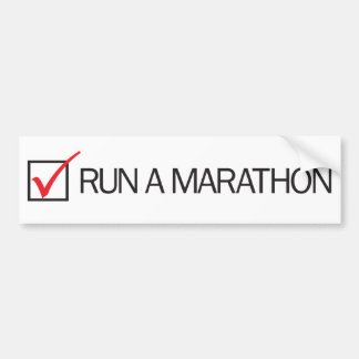 Run a Marathon Check Box Bumper Sticker