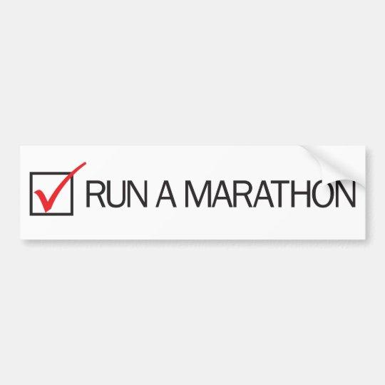 Run a Marathon Check Box Bumper Sticker