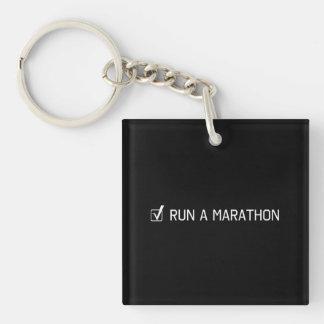 Run A Marathon Double-Sided Square Acrylic Keychain