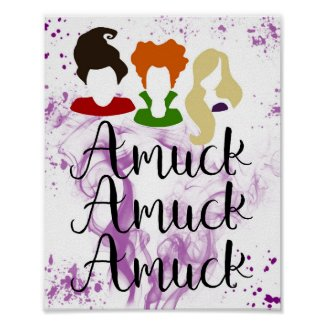 Run Amuk, Cute Halloween Hocus Pocus Witch Poster