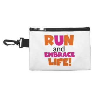 Run and Embrace Life Orange Pink Accessory Bag