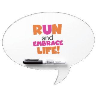 Run and Embrace Life Orange Pink Dry-Erase Board