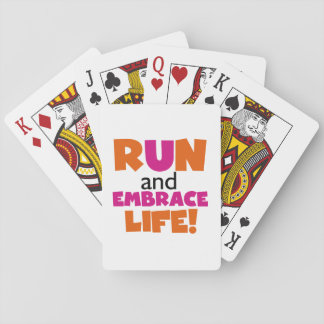 Run and Embrace Life Orange Pink Playing Cards