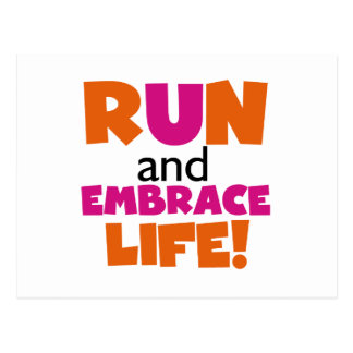 Run and Embrace Life Orange Pink Postcard