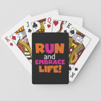 Run and Embrace Life Orange Pink Text Card Deck