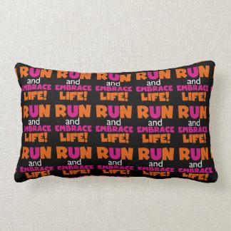 Run and Embrace Life Orange Pink Text Lumbar Pillow