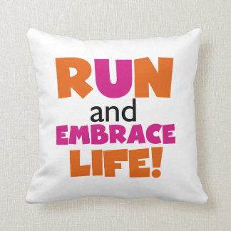 Run and Embrace Life Orange Pink Throw Pillow