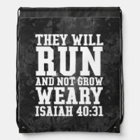 Run and Not Grow Weary Christian Bible Running Drawstring Backpack