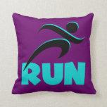 RUN Aqua Throw Pillow