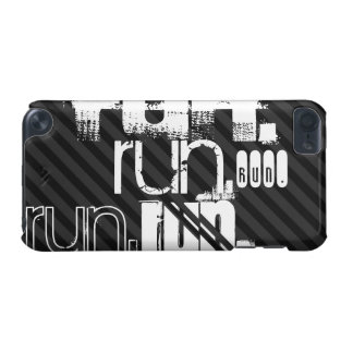 Run; Black & Dark Gray Stripes iPod Touch (5th Generation) Case