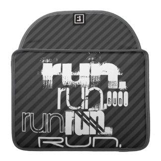 Run; Black & Dark Gray Stripes MacBook Pro Sleeve