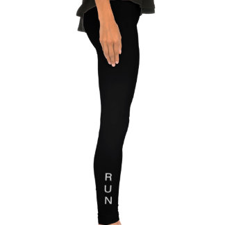 """RUN"" black leggings with white wording"