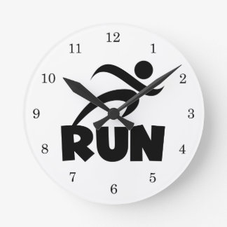 RUN Black Round Clock