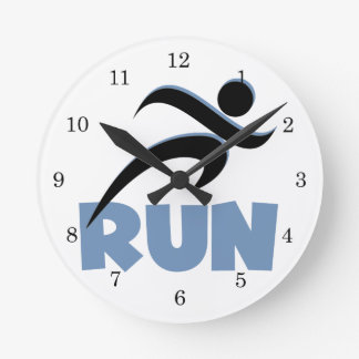 RUN Blue Round Clock