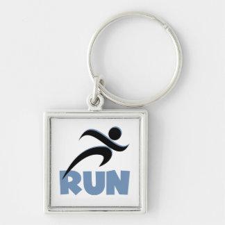 RUN Blue Silver-Colored Square Keychain