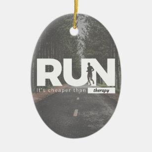 d29b2ab906a52a Run Cheaper Than Therapy Running Runners Treatment Ceramic Ornament