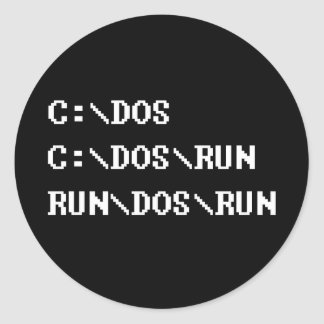 run dos run classic round sticker
