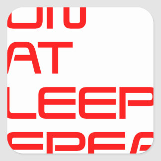 run-eat-sleep-repeat-SAVED-RED.png Square Sticker