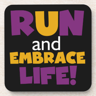 Run Embrace Life Purple Pink Coaster