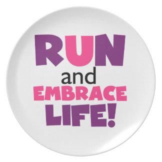 Run Embrace Life Purple Pink Dinner Plate