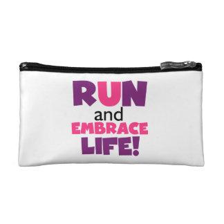 Run Embrace Life Purple Pink Makeup Bag